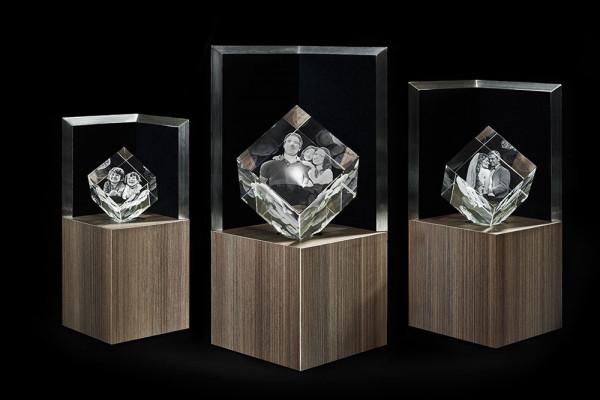 Leuchtstele für 3D Laser Viamantglas Illuminato Precious XXL Dekor Ceramic Wood