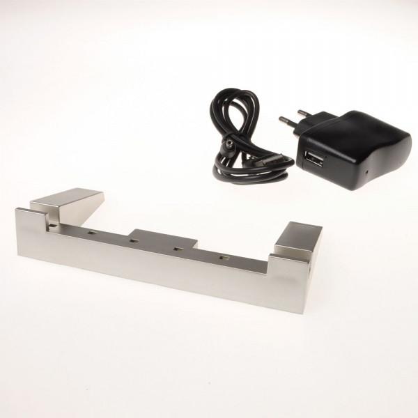USB Leuchtsockel Flachglas groß im Metalllook