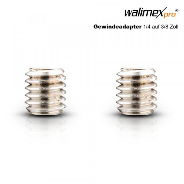 Walimex pro Gewindeadapter 1/4 auf 3/8 Zoll, 2x