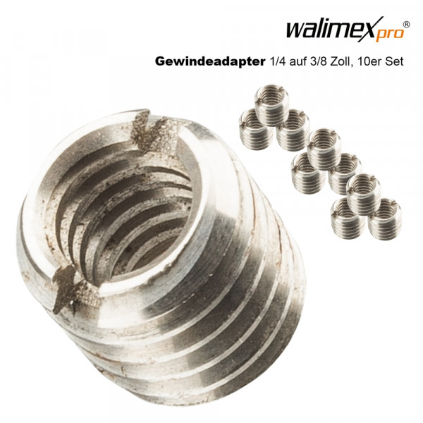 Walimex pro Gewindeadapter 1/4 - 3/8 Zoll, 10 Stck