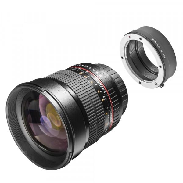 Walimex pro 85mm F1.4 mit Adapter Sony E Mount