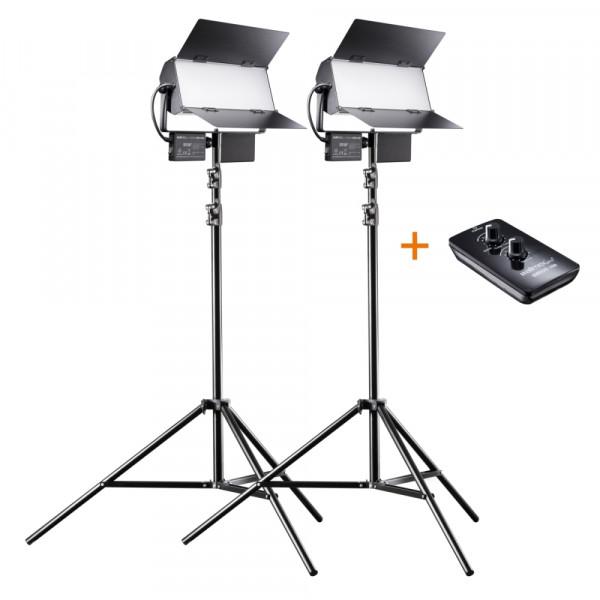 Walimex pro LED Sirius 160 Daylight 65W - 2er Set inkl. 2x Stativ 2,6m und Fernbedienung