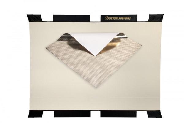 Sunbounce SUN-BOUNCER 2-in-1 REFLECTOR ZEBRA / WHITE leicht warm ca. -400 Kelvin - Struktur: 50% Gold glatt + 50% Silber glatt - Rückseite Weiß matt