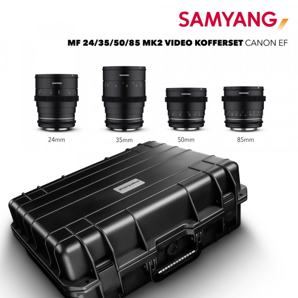 Samyang MF 24/35/50/85 MK2 Video Kofferset Canon EF +Aptaris Universal Frame Aktion