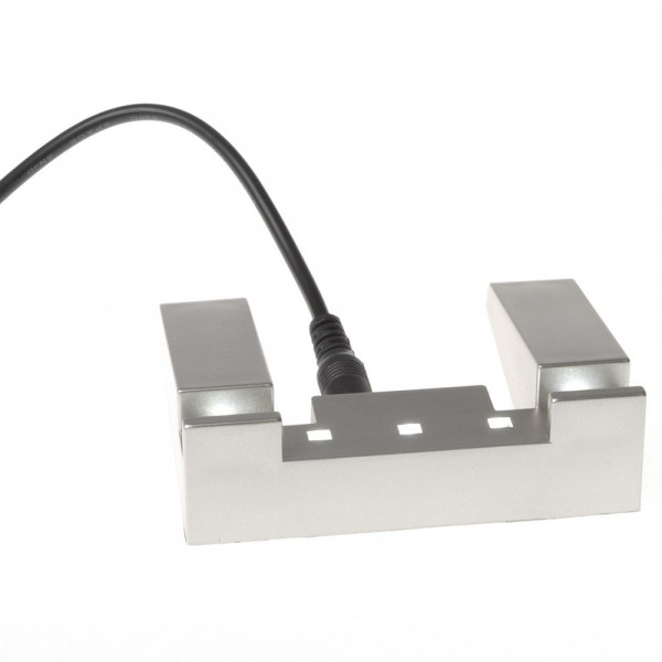USB Leuchtsockel Flachglas klein im Metalllook